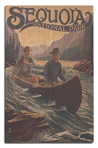 Sequoia National Park - Canoe in Rapids (12x18 Wood Wall Sign, Wall Decor Ready to Hang) (Sequoia Canoe)