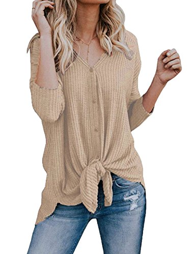 (VYNCS Women's Casual Button Down Front Knot Knit Sweaters Tunic Blouse Long Sleeve V Neck Henley Shirts Tops Winter (Khaki, XX-Large))
