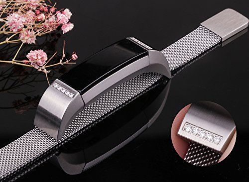 "Oitom for Fitbit Alta HR Accessory Bands and Fitbit Alta Band, (2 Size) Large 6.7"" 9.3"" Small 5.1"" 6.7"" (8 Color) Silver Black Rose Gold Pink Blue Brown Rainbow (Silver+Clear Diamond, Large 6.7"" 9.3"")"