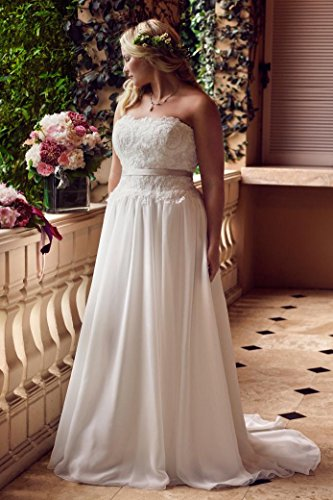 Women's Strapless Ivory Bridal Chiffon Dress Wedding Lace Dreamdress Garden Ball wdzg1qdI