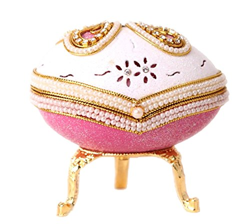 SudaTek Collectible Butterfly Egg Music Box Handmade Real Eggshell Musical Pearl Figurine Jewelry Trinket -