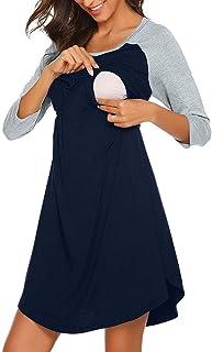 Italily Vestito Premaman Camicia Da Notte Premaman Donna Abiti Maternità Camicie Incinte Allattamento Abito Di Gravidanza Abito Premaman Maternità A Manica A 3/4 Elegante Dress