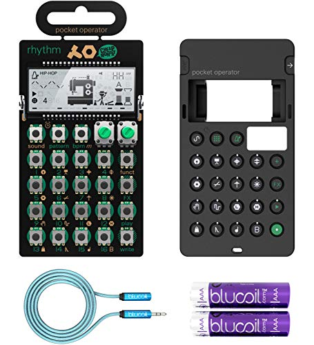 Teenage Engineering PO-12 Rhythm Pocket Operator, 16 Sounds, Patterns & Effects Synthesizer & Sequencer Bundle with CA-X Silicone Case, Blucoil 6-FT Headphone Extension Cable (3.5mm) & 2 AAA Batteries ()