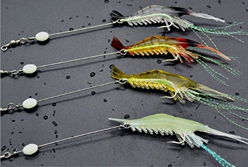 - 8Pcs Soft Shrimp Fishing Lure Rigs Shrimp Soft Bait Set with Luminous Fishing Hook and Glow Beads Good for Trout Bass Salmon,4 Colors