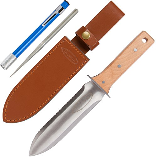 Diamond Garden (Hori Hori Garden Knife with FREE Diamond Sharpening Rod, Thickest Leather Sheath and Extra Sharp Blade - in Gift Box. This Knife Makes a Great Gift for Gardeners and Campers!)