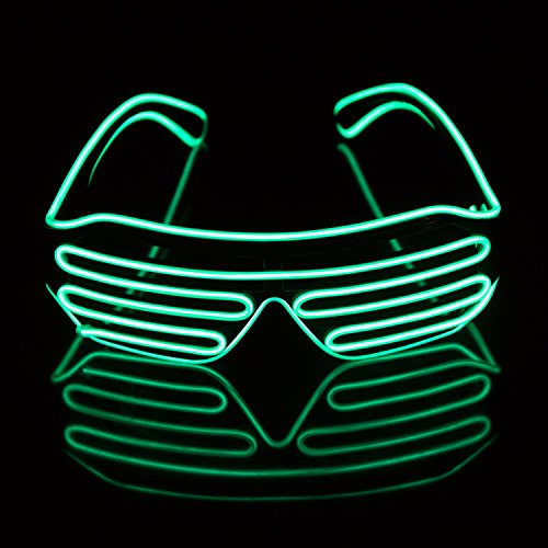 Led Light Up Neon Shutter Party Glasses for Parties Decorations(Green) by iChase