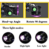 GRDE 3 Modes Bright LED Headlamp Waterproof Head Light with Rechargeable Batteries, Car Charger, Wall Charger and USB Cable for Outdoor Activities