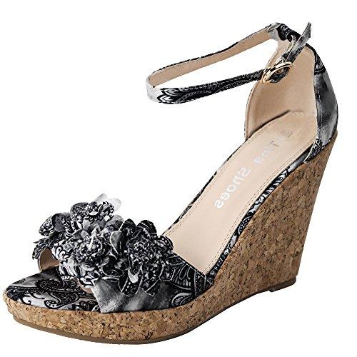 Damen Sandalen Sandaletten B29 Keilabsatz Plateau Wedge Blume Grau