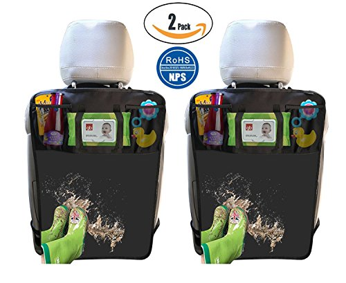 2 Pack Kick Mats with Tissue Holder, Waterproof Car Seat Back Protector with Organizer Storage Pocket –Universal Fit - by Termichy (2-Black) (All Is Tissue)
