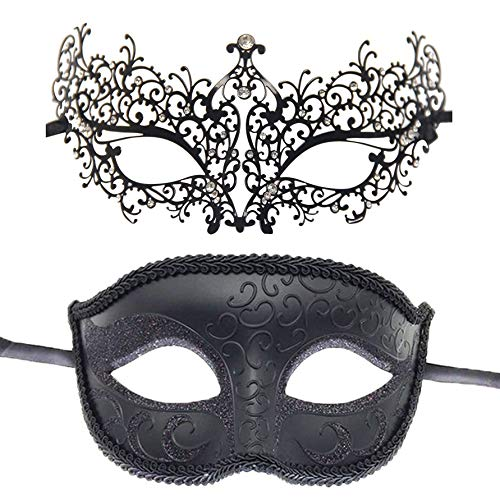 Couple's Masquerade Mask Mardi Gras Party Mask for Festival Halloween Costume Ball (Style B) -