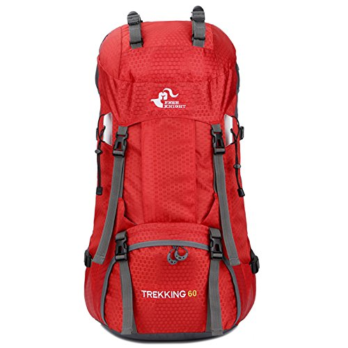 NewMultis Backpack FK0395 60L Waterproof Foldable Backpack Camping Bag with Rain Cover Red