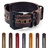 StrapsCo Ultra Distressed Leather G10 Nato Watch Strap w/ Black Pre-V Buckle