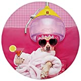 Round Rug Mat Carpet,Funny,Chihuahua Dog Relaxing and Lying in Wellness Spa Fashion Puppy Comic Print Decorative,Magenta Baby Pink,Flannel Microfiber Non-slip Soft Absorbent,for Kitchen Floor Bathroom