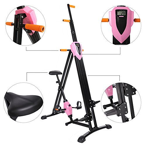 Miageek Vertical Climber Gym Exercise Fitness Machine Stepper Cardio Workout Training[US SOTCK] (Pink 3)