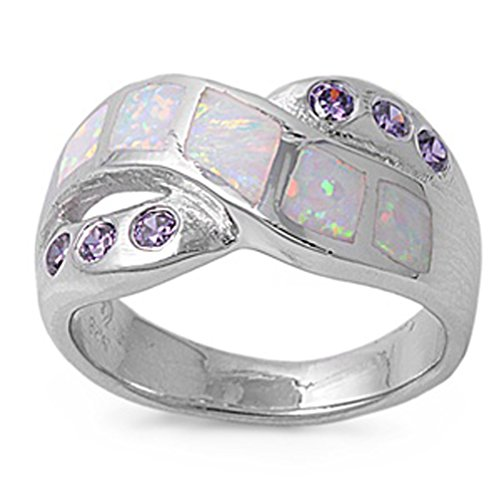 White Simulated Opal Criss Cross Mosaic Ring New .925 Sterling Silver Band Size (Cross Amethyst Sterling Silver Bands)