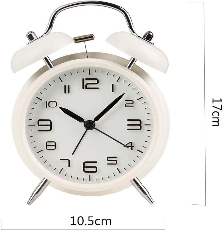 YiYunTE R/éveil Classique r/étro Silencieux sans tic-tac Horloge Double Cloche avec veilleuse Forte pour Le r/éveil Noir M/étal Blanc Taille M