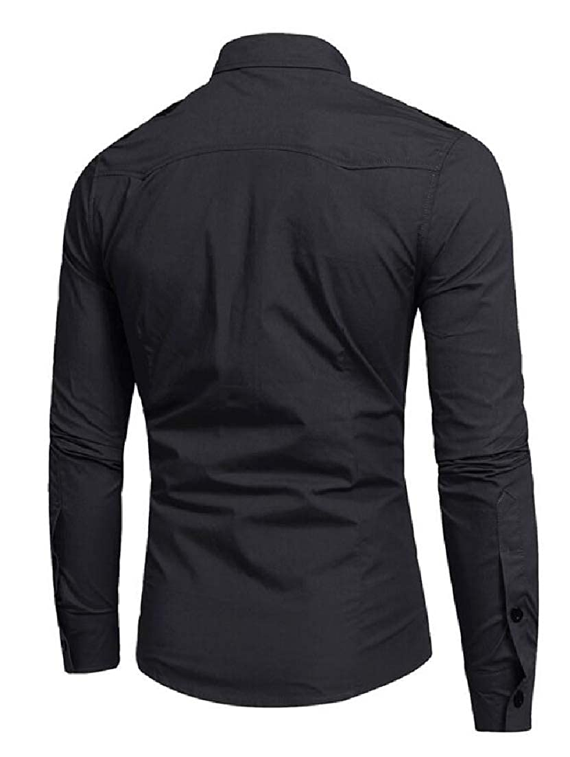 ouxiuli Mens Long Sleeve Solid Business Slim Fit Button Down Dress Shirts