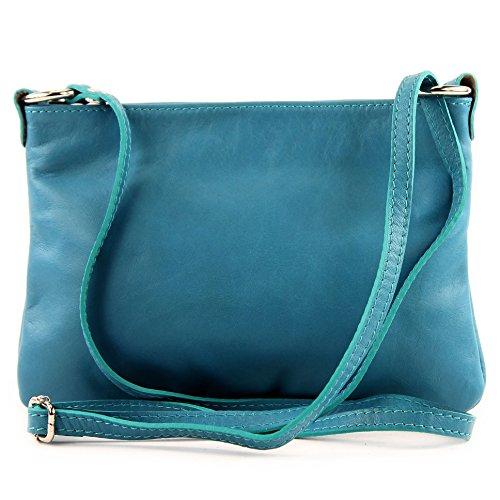 Made Italy - Bolso cruzados para mujer (22.5 x 16 cm) azul turquesa