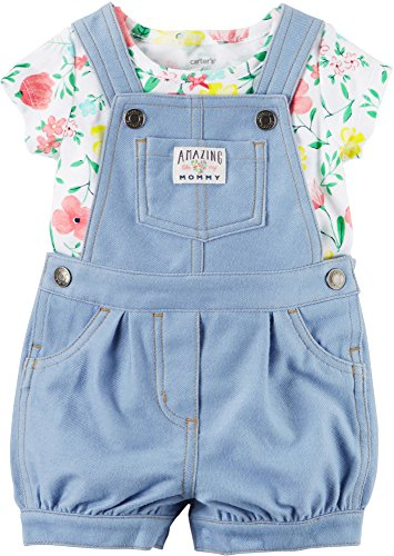 Baby Girl Overalls - Carters Baby Girls Floral Shortalls Set 3 Month Light denim blue