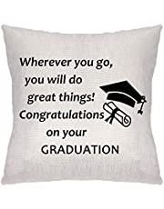 ZCHXD Graduation Gifts Pillow Cover Pillowcase Decorative Cushion Cover Linen Sofa Pillow Case Wherever You Go, You Will Do Great Things