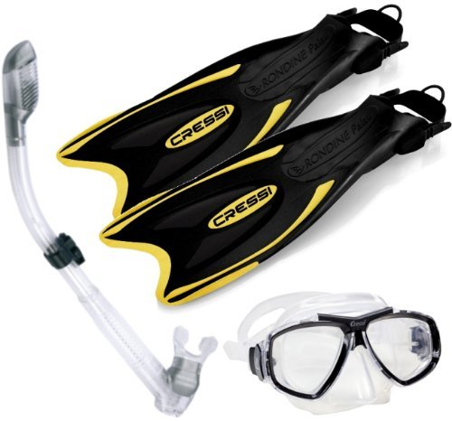 Cressi Palau Long Fins  Focus Mask  Dry Snorkel  Snorkeling Gear Package  S M