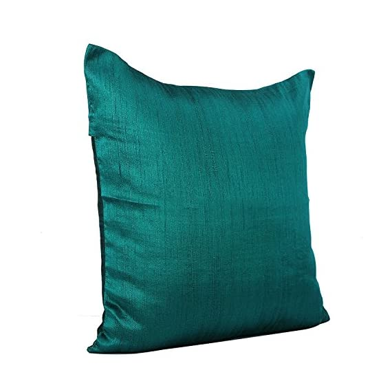 The White Petals Dark Teal Throw Pillow (Set of 2 Covers, Faux Raw Silk, Dark Teal, 18x18 inches) - INCLUSIONS- 2 Dark Teal throw pillow covers of size 18x18 inch or 45x45 cms. INSERTS/ FILLERS are NOT INCLUDED. MULTIPURPOSE USE- These Dark Teal throw pillow covers are perfect for bedroom, living room, guest room, kids room, dorm room. PREMIUM QUALITY: The fabric is top notch & stitching impeccable. Both the front & back of the pillow covers are made using same Dark Teal colored fabric. The zipper at the back ensures easy removal & insertion of the filler. - living-room-soft-furnishings, living-room, decorative-pillows - 51ewEjSL8cL. SS570  -
