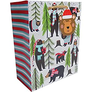 Jillson Roberts 6-Count Small Christmas Gift Bags, Beary Merry