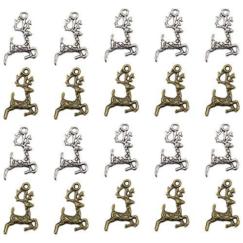 JETEHO 100 PCS Ancient Silver Brozen Color Deer Charms Pendants Animal Charms for DIY Jewelry Making Pendant(2 Colors) (Ancient Deer)