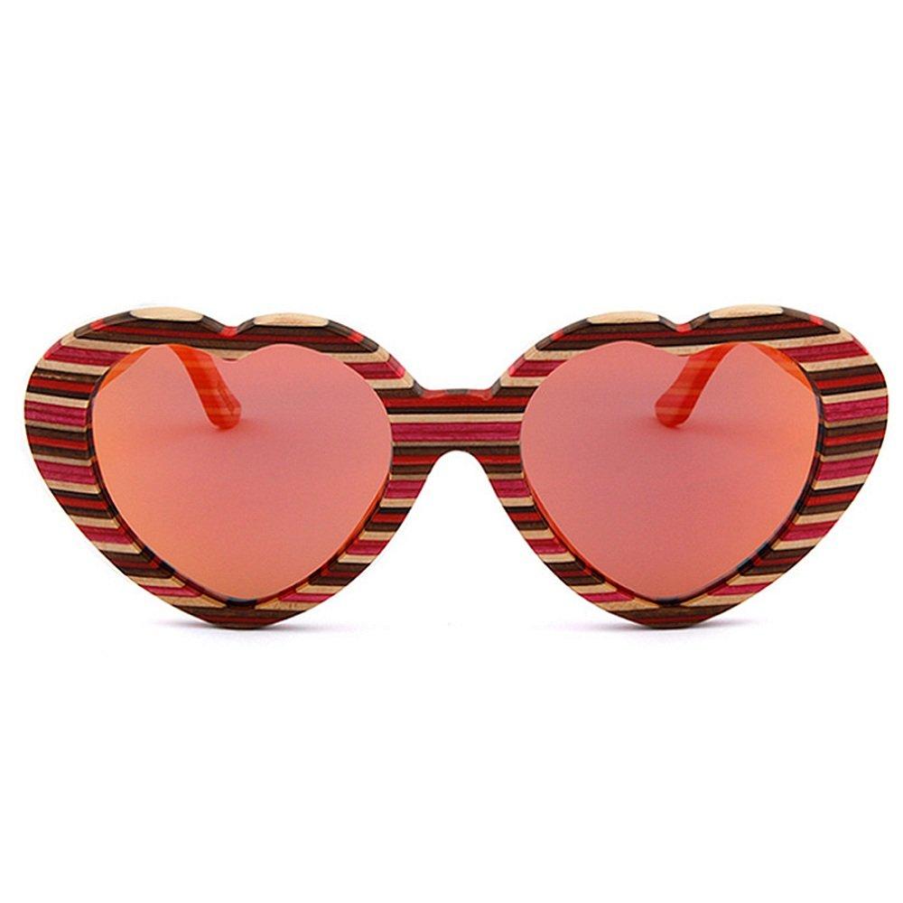 cffc7e5508 Aihifly Gafas de Sol Heart Shape Women's Color Strips Gafas de Sol de  Madera Hechas a Mano Gafas de Sol polarizadas Protección UV Conducción Gafas  de Sol ...
