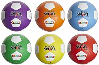 School Smart Soccer Balls - Size 4 - Set of 6 - Assorted Colors