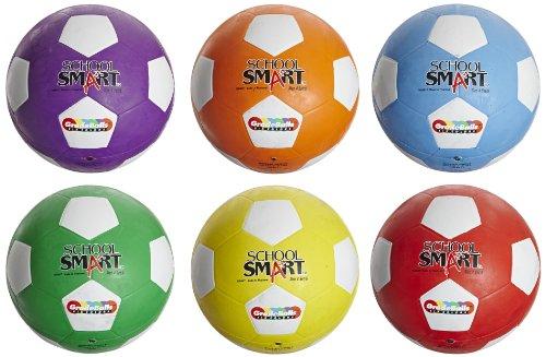School Smart Soccer Balls, Assorted Colors, Size 4, Set of 6