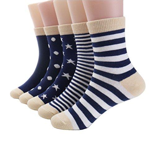 (Eilin Fashion Kids Boys Colorful Novelty Fashion Cotton Crew Socks 5 Pairs (EL5, L 9-12)
