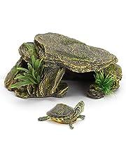 Reptielenhuiden en grotten, Schildpad Reptielen Habitat Aquarium Accessoires, Schuilplaatsen Cave Aquarium Decor voor reptielen, amfibieën en kleine dieren