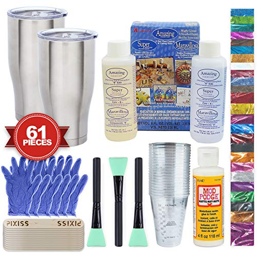 Epoxy Glitter Tumblers Kit, Includes Amazing Clear Cast Epoxy for Tumblers, Silicone Epoxy Resin Brushes, Glitter, Mod Podge (Additional Cast)