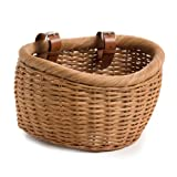 The Basket Lady Wicker Bicycle Basket, Medium, Toasted Oat