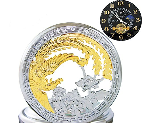 OGLE Waterproof Gold Phoenix Black Tourbillon Phases Moon Chain Fob Automatic Mechanical Pocket Watch (Automatic Moon Mens Watch)