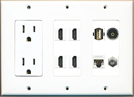 3 Gang 15A Power Outlet 4 HDMI Coax Composite Video Wall Plate White RiteAV