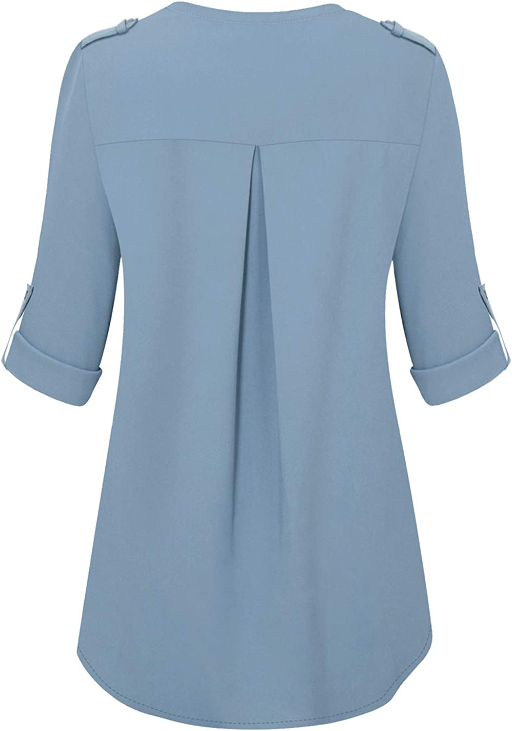 Bulotus Women Chiffon Blouses for Work 3//4 Sleeve V Neck Business Casual Tops