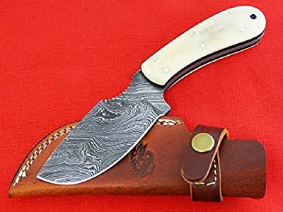 """Knives Ranch Damascus Steel Knives 8"""" Big Belly Skinner with Bone Handle. INCLUDES: Leather Vertical Belt Loop Sheath"""