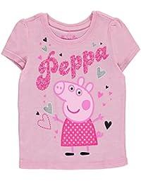 """Peppa Pig Little Girls' Toddler """"Glitter Hearts"""" T-Shirt"""