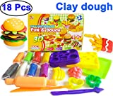 diy play dough - 18 Pcs Play Dough Toys for Kids Girls Boys Clay Dough Kitchen Food Slime DIY 3D Hamburger Toy with Modeling Tools Arts Craft Kits Pretend Play Party Favors Toy for Child Halloween Birthday Gift