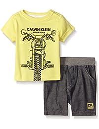 Baby-Boys Printed Stripes Interlock Top and Woven Chambray Shorts
