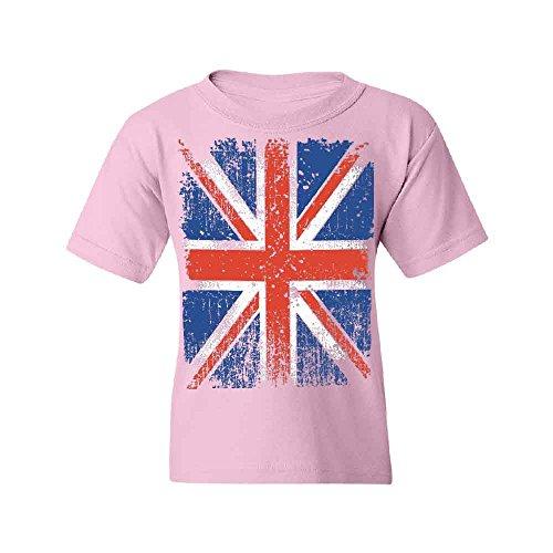 (Distressed British Flag Youth T-shirt Vintage Union Jack UK Flag Tee Pink YOUTH Medium)
