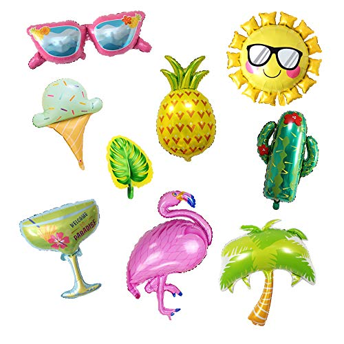 Pack of 9 Assorted Summer Party Theme Balloons Aluminum Foil Balloons Flamingo Pineapple Cactus Ice Cream Sun Glasses Palm Tree Cocktail Monstera for Hawaiian Luau Tropical Beach Party Supplies]()