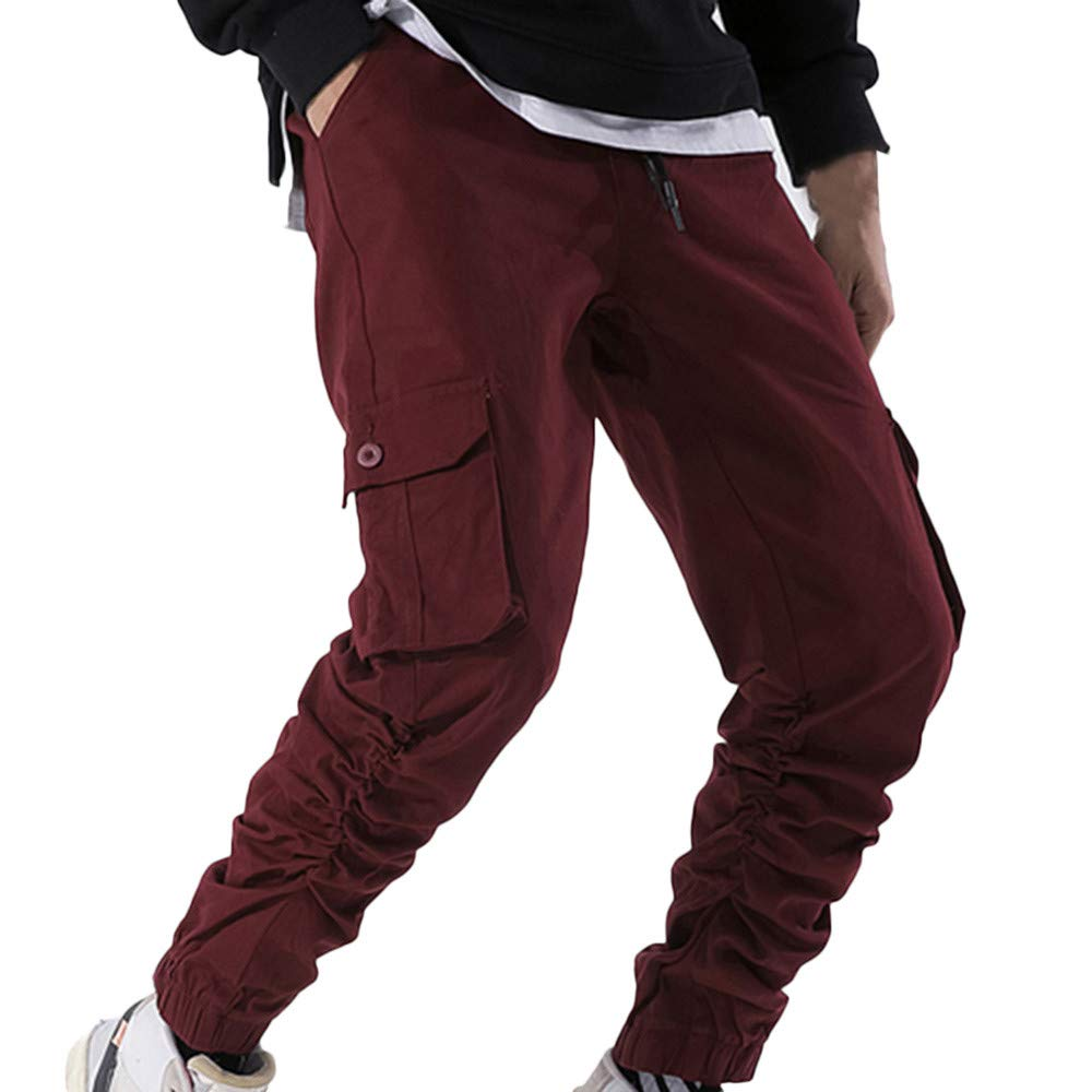Men Pant❤️Foncircle Mens Winner Pure Color Sweatpants Casual Pocket Trouser