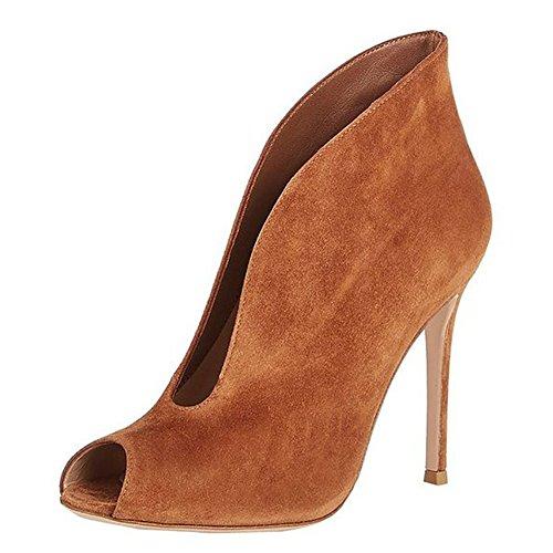 MERUMOTE - Zapatos de vestir para mujer Brown-Faux Suede