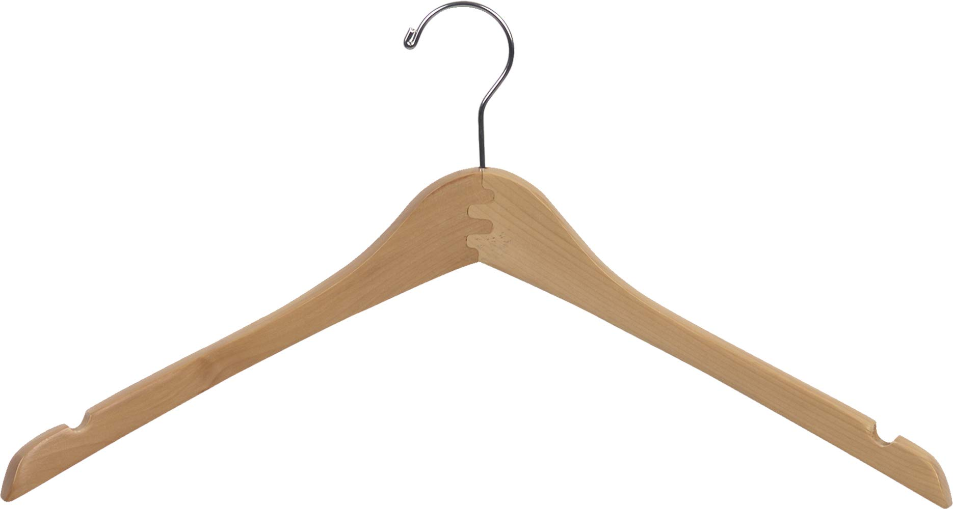 The Great American Hanger Company Curved Wood Top Hanger, Box of 100 17 Inch Wooden Hangers w/Natural Finish & Chrome Swivel Hook & Notches for Shirt Jacket or Coat