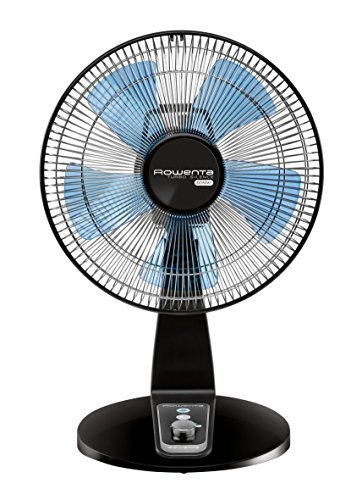 Rowenta VU2631 Extreme Turbo Silence 12-Inch Manual Table Fan, 4-Speed Settings including Turbo Boost Options, Black