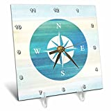 3dRose 3D Rose dc_152107_1 Aqua Nautical Compass Beach Theme Art-Desk Clock, 6 by 6-Inch (1)