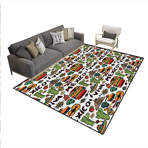 (Floor Mat,Viva Mexico Native Elements Poncho Tequila Salsa Hot Peppers Image,Rugs Bedroom,Multicolor,6'x8')